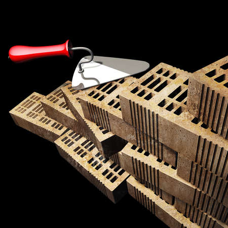 Building and construction concept. brick and metal trowel isolated on black background. High resolution 3d render  photo