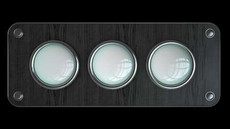 three empty vintage button on wooden board isolated over black background. High resolution 3d render  Stock Photo - 18720180