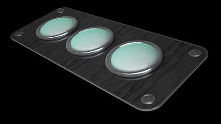 three empty vintage button on wooden board isolated over black background. High resolution 3d render Stock Photo - 18720062