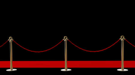 red carpet event: success. Barrier rope and red carpet isolated on black background High resolution 3D  Stock Photo