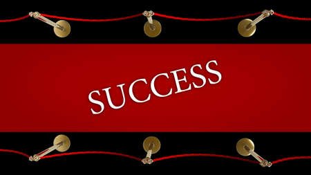 success. Barrier rope and red carpet isolated on black background High resolution 3D Stock Photo - 18719765