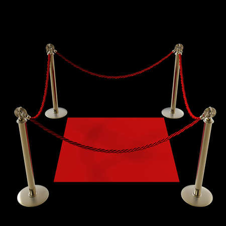 Barrier rope and red carpet isolated on black background High resolution 3D  photo