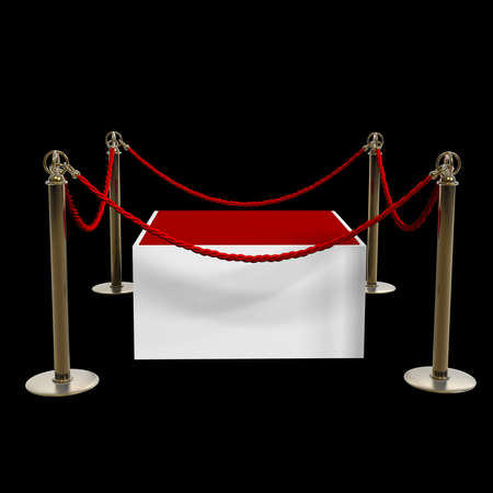 Barrier rope and red box isolated on black background High resolution 3D  photo