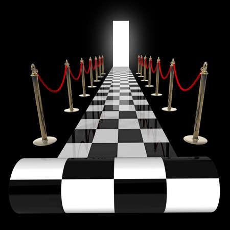 cuadros blanco y negro: concepto. alfombra a cuadros aislado en un fondo negro 3d de alta resolución