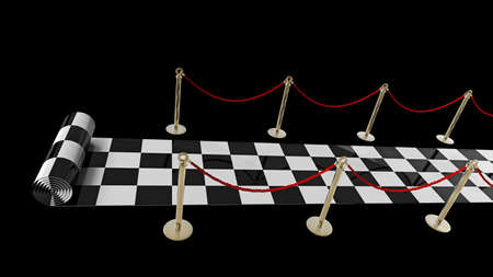 concept. checkered carpet isolated on a black background High resolution 3d render  Stock Photo - 18719770