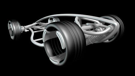 concept car frame Isolated on black background. High resolution 3d render