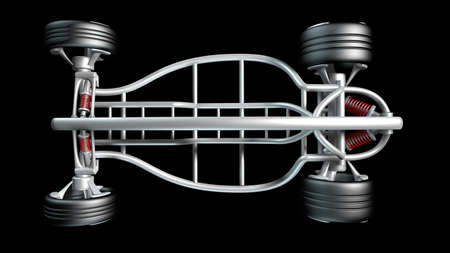 horsepower: concept car frame Isolated on black background. High resolution 3d render