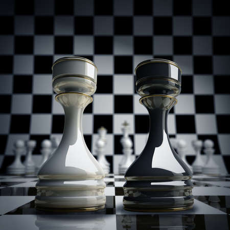 Black vs wihte chess rook background 3d illustration. high resolution  illustration