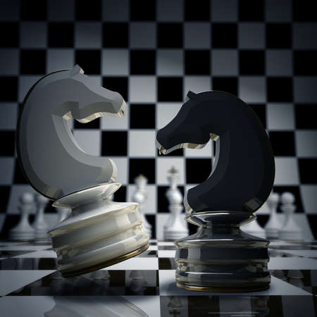 chess knight: Black vs wihte chess horse background 3d illustration. high resolution