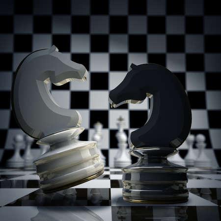 jugando ajedrez: Negro vs ajedrez wihte caballo fondo 3d ilustraci�n. alta resoluci�n