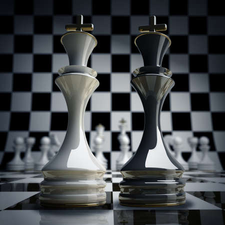 bishop chess piece: Black vs wihte chess king background 3d illustration. high resolution