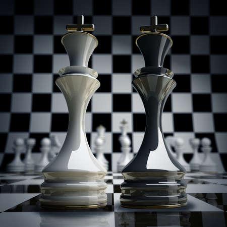 ajedrez: Negro vs ajedrez wihte rey fondo 3d ilustraci�n. alta resoluci�n Foto de archivo