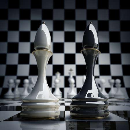 Black vs wihte chess officer background 3d illustration. high resolution  Stock Photo