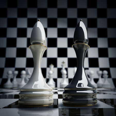 bishop: Black vs wihte chess officer background 3d illustration. high resolution  Stock Photo