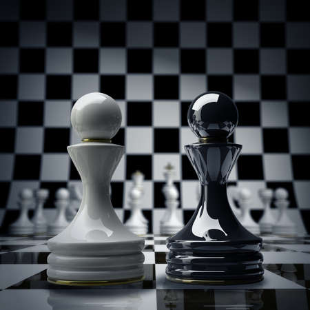 Black vs wihte chess pawn background 3d illustration. high resolution  illustration