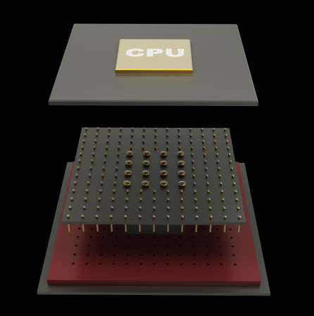 Computer microchip CPU disassembled. Icon 3D. isolated on black background High resolution  photo