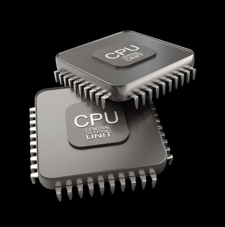 processor: Processor unit concept isolated on black background 3d render