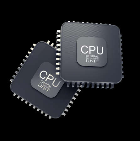 Processor unit concept isolated on black background 3d render photo