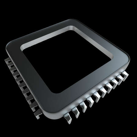 high resolution: Processor unit CPU concept isolated on black background High resolution 3D