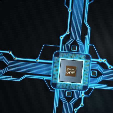 Concept of technology background. Central Processing Unit. (microchip) High resolution 3d render  photo