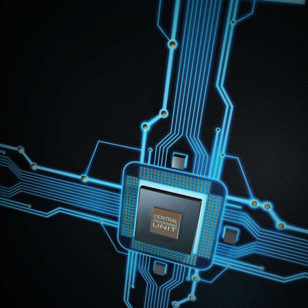 microchip: Concept of technology background. Central Processing Unit. (microchip) High resolution 3d render