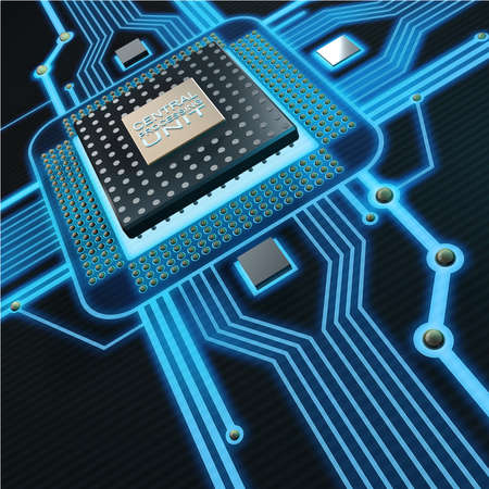 Concepto de fondo la tecnología. Unidad de Procesamiento Central. (Microchip) de alta resolución 3d Foto de archivo