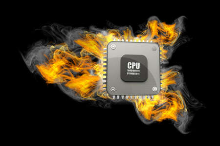 fallen: Burning Processor. 3d Illustration isolated on black background. high resolution