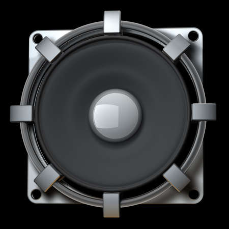 Loudspeaker isolated on black background High resolution 3d render  photo