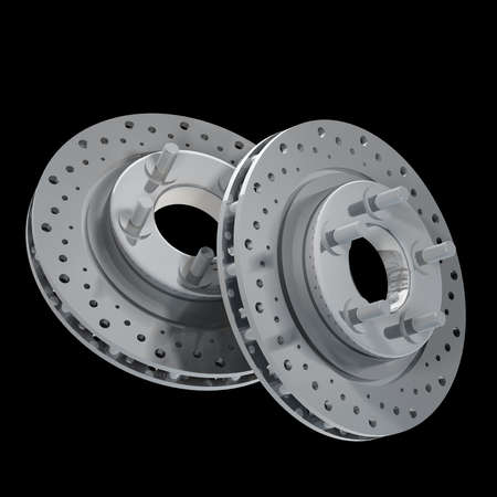 Brake Discs isolated on black background 3d render photo