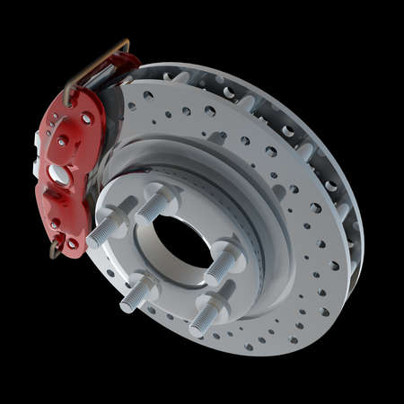 brake disk with a red support. isolated on black background High resolution 3d render Stock Photo - 18719917