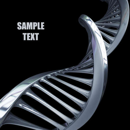 model van verwrongen chroom metalen ketting van DNA geïsoleerd op zwarte achtergrond met hoge resolutie 3D render Stockfoto