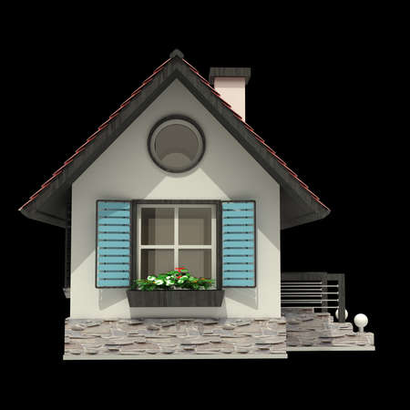 ideal: 3d house isolated on black background High resolution
