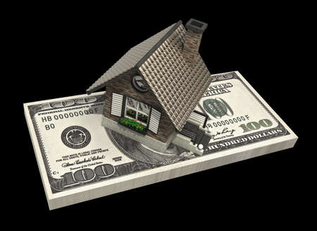 economise: concept house and dollars isolated on black background 3d High resolution