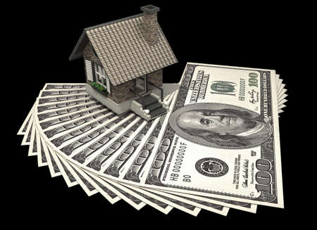 concept house and dollars isolated on black background 3d High resolution