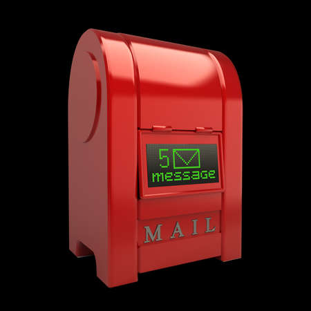 correspond: Red Postbox with Electronic screen isolated on black background 3d illustration High resolution