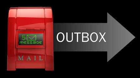 outbox: Red Postbox with Electronic screen (OUTBOX) isolated on black background 3d illustration High resolution  Stock Photo