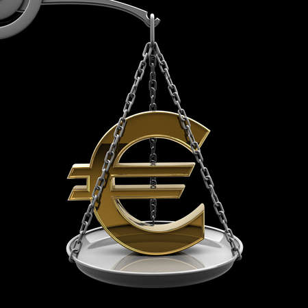 high scale: Scale with golden Euro symbol isolated on black background High resolution 3d render