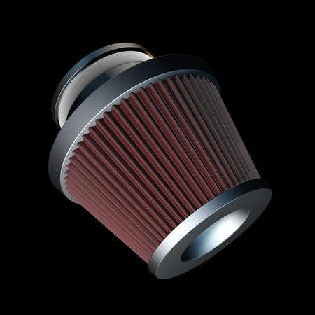 modificaci�n: filtro de cono de aire de resistencia cero. Accesorios modificaci�n del veh�culo. aislados sobre fondo negro 3d de alta resoluci�n Foto de archivo