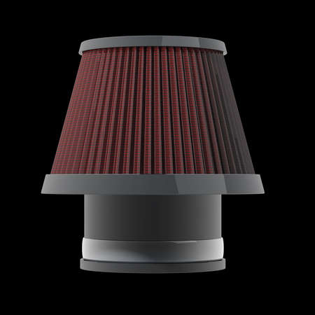 high torque: air cone filter of zero resistance. Vehicle Modification Accessories. isolated on black background High resolution 3d render