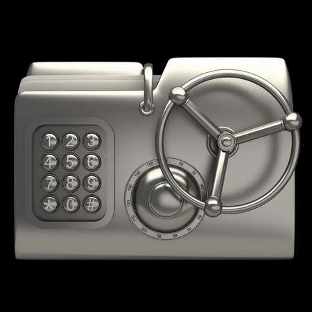 secret number: computer folder designed to seem a safe isolated on black background Concept of protection of digital data 3d render