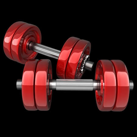 Dumbbell RED isolated on black background. High resolution 3d render  photo