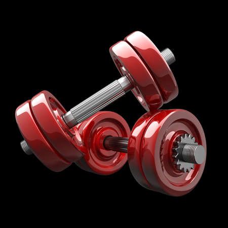 Dumbbell RED isolated on black background. High resolution 3d render