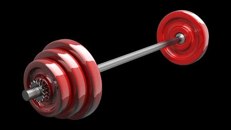 kilos: 3d illustration of red dumbbell isolated on black background. High resolution