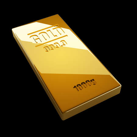gold bars isolated on black background. High resolution. 3D image  photo