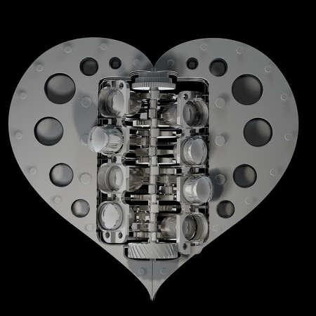 ferreteria: concepto V8 corazón mecánico aislado en fondo negro 3d render