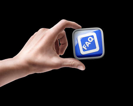 Man's hand holding FAQ APPS icons isolated on black background Stock Photo - 18759252