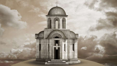 church 3d: Christian Church from a stone on the sky High resolution 3D