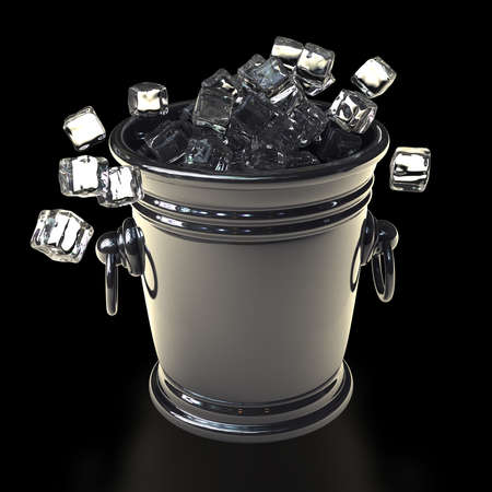 full of ice bucket isolated on black background High resolution 3d render  photo