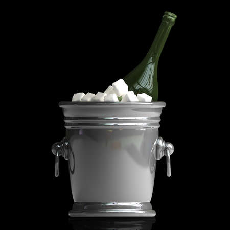 cooler: Bottle champagne in a bucket with ice isolated on black background High resolution 3d render Stock Photo
