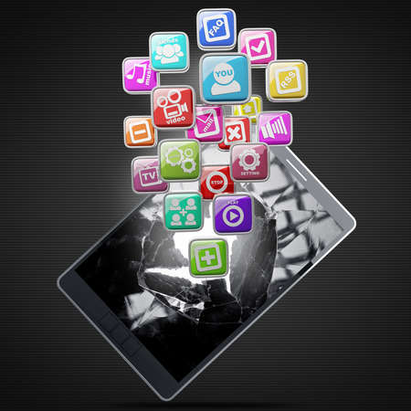 ipad with color application icons isolated on black background. high resolution 3d illustration Stock Illustration - 18759595